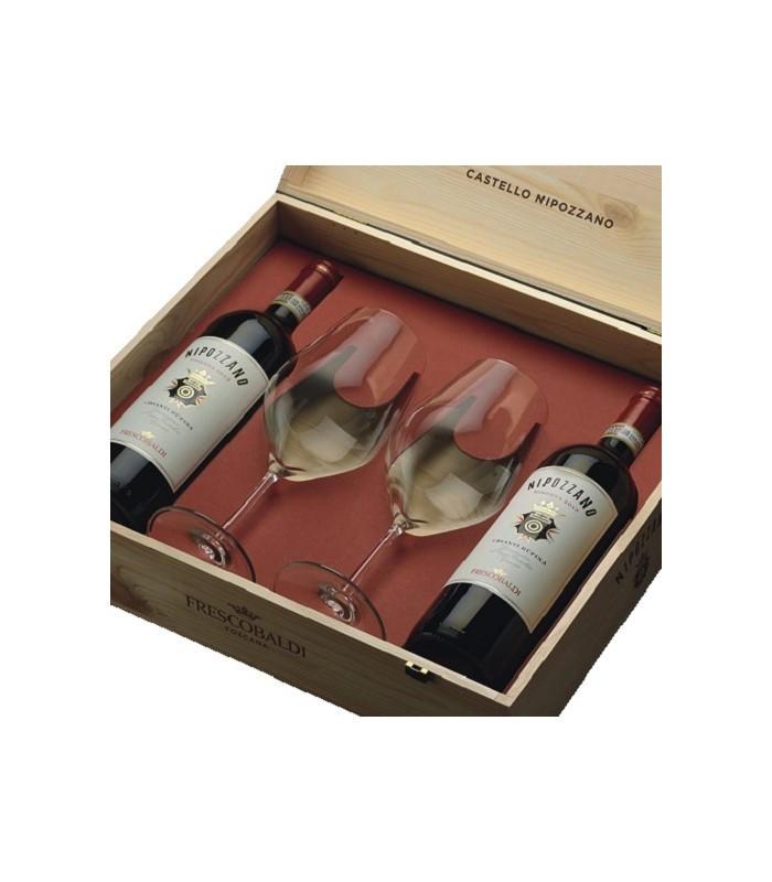 Frescobaldi Cassetta Legno 2 Nipozzano riserva 2012 + 2 Calici Vino