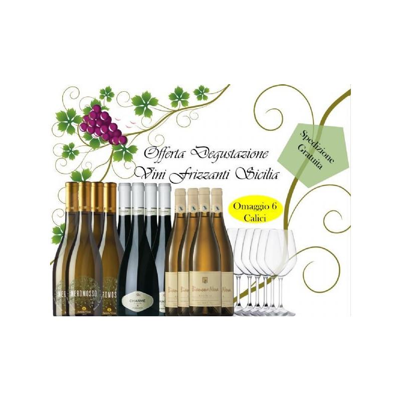 ***12 Vini Bianchi Frizzanti Sicilia + 6 Calici Omaggio -