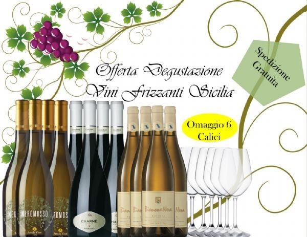 ***12 Vini Bianchi Frizzanti Sicilia + 6 Calici Omaggio